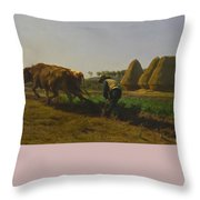 Cattle At Rest On A Hillside In The Alps Throw Pillow