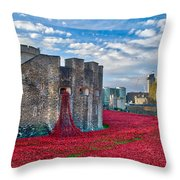Poppies At The Tower Of London Throw Pillow