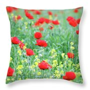 Poppy Flowers Meadow Spring Season Throw Pillow