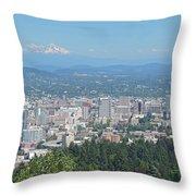 Portland Skyline With Mount Hood Throw Pillow