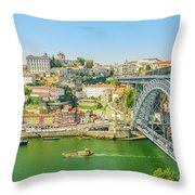 Porto Ribeira Skyline Throw Pillow