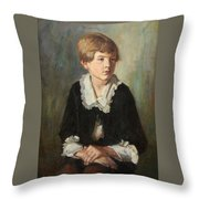 Portrait Of A Seated Child Throw Pillow