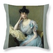 Portrait Of A Young Woman In A Blue Dress Throw Pillow
