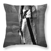 Portrait Of Cree Indian Warrior Throw Pillow