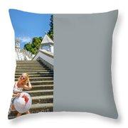 Portugal Woman Tourist Throw Pillow