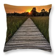 Prairie Boardwalk Sunset Throw Pillow