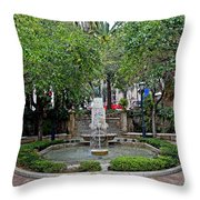 Public Fountain And Gardens In Palma Majorca Spain Throw Pillow