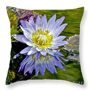 Purple Water Lily Pond Flower Wall Decor Throw Pillow