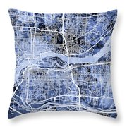 Quad Cities Street Map Throw Pillow