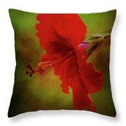 Red Hibiscus Art Throw Pillow