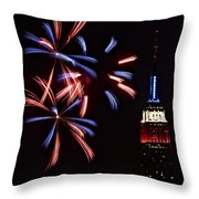 Red White And Blue Throw Pillow by Susan Candelario