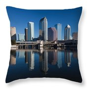 Reflection Of Skyscrapers On Water Throw Pillow