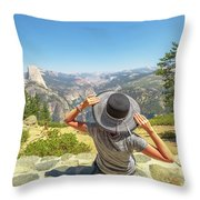 Relaxing At Glacier Point Throw Pillow