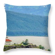 Remote Lighthouse Island Standing In The Middle Of Mud Bay Alask Throw Pillow