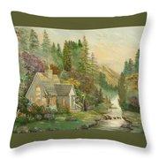 Reproduction Of Thomas Kinkade Throw Pillow