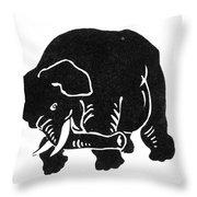 Republican Elephant, 1874 Throw Pillow