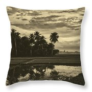 Rice Field Sunrise - Indonesia Throw Pillow