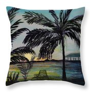 Roatan Sunset Throw Pillow