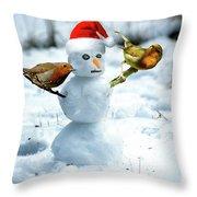 2 Robins On A Snow Man Throw Pillow