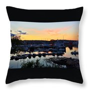 Rockport Harbor Sunset I Throw Pillow