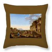 Roman Landscape With Ruins And Travellers Throw Pillow