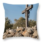Rosary Hanging On A Small Wooden Cross On A Stone Wall Throw Pillow