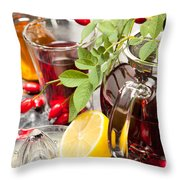 Rosehip Tea With Honey And Lemon In Glass Throw Pillow