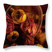 Roses Spilling Out Of Vase Throw Pillow