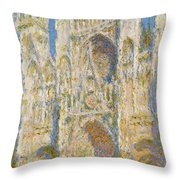 Rouen Cathedral, West Facade, Sunlight Throw Pillow