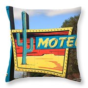 Route 66 - Western Motel Throw Pillow
