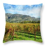 Rows Of Grapevines In Napa Valley Caliofnia Throw Pillow
