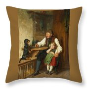 Rustic Interior With Grandfather Throw Pillow