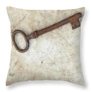 Rusty Key On Old Parchment Throw Pillow