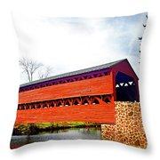 Sachs Bridge - Gettysburg Throw Pillow