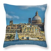 Sail Boat And Cathedral Throw Pillow