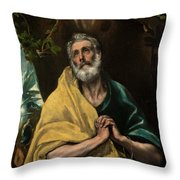 Saint Peter In Tears Throw Pillow