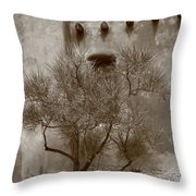 Santa Fe - Adobe Building And Tree Throw Pillow