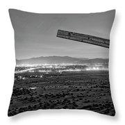Santa Fe, Nm, From Bonanza Creek Ranch, Illuminated By The Moon, Throw Pillow