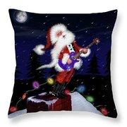 Santa Plays Guitar In A Snowstorm Throw Pillow
