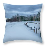 Scenic Views At Brown Mountain Overlook In North Carolina At Sun Throw Pillow