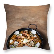 Seafood And Rice Paella Traditional Spanish Food Throw Pillow