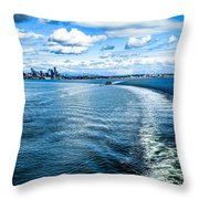 Seattle Washington Cityscape Skyline On Partly Cloudy Day Throw Pillow