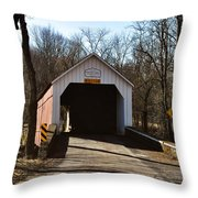 Sheards Mill Covered Bridge - Bucks County Pa Throw Pillow