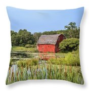 Sinking Red Barn #6 Throw Pillow