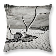 Skull And Antlers Throw Pillow