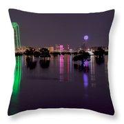 Skyline Of Dallas, Texas At Night Across Flooded Trinity River Throw Pillow