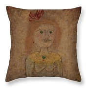 Small Portrait Of A Girl In Yellow Throw Pillow