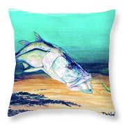 Snook On Jig Throw Pillow