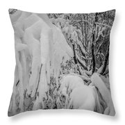 Snow Covered Trees In The North Carolina Mountains During Winter Throw Pillow