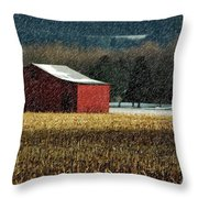 Snowy Red Barn In Winter Throw Pillow